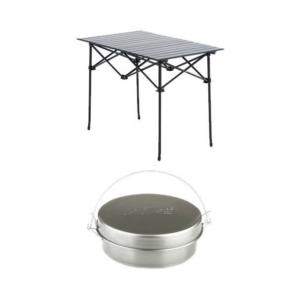 Adventure Kings Aluminium Roll-Up Camping Table + Bedourie Camp Oven