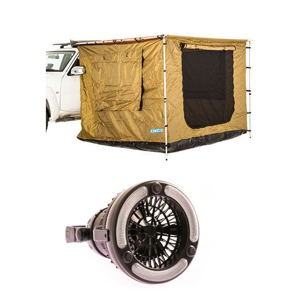 Adventure Kings Awning Tent (suits 2m x 3m Awning) + Adventure Kings 2in1 LED Light & Fan