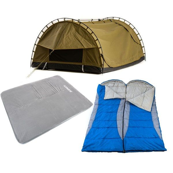Adventure Kings Big Daddy Canvas Shell & Poles + Self Inflating 100mm Foam Mattress - Queen + 2x Hooded Sleeping Bag