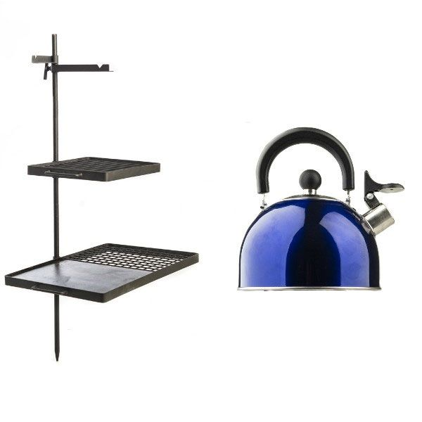 Adventure Kings Campfire Cooking Grill/BBQ Combo + Adventure Kings Camping Kettle