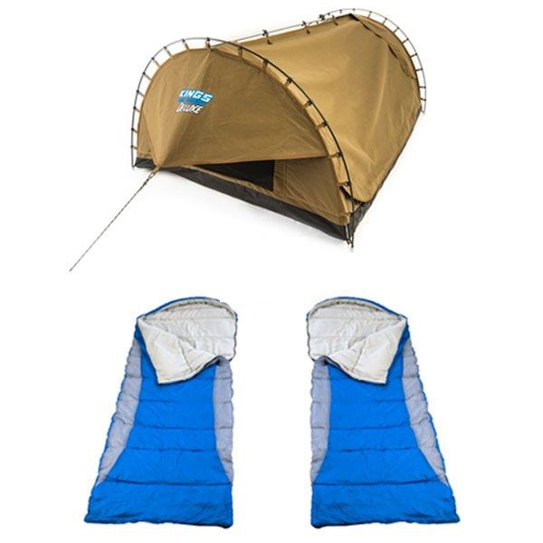 Adventure Kings Double Swag Big Daddy Deluxe + 2x Adventure Kings - Hooded Sleeping Bag
