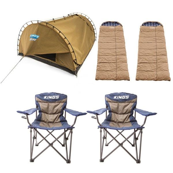 Adventure Kings Double Swag Big Daddy Deluxe + 2x Premium Sleeping bag -5°C to 5°C Degrees Celsius - Left and Right Zipper - 2x Throne Camping Chair