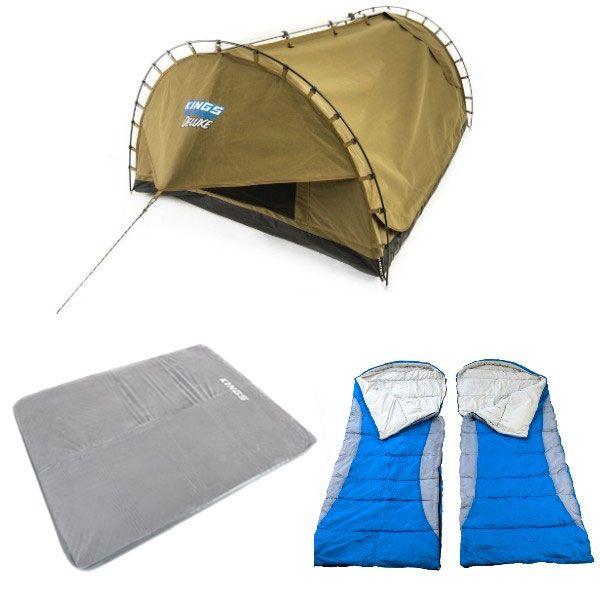 Adventure Kings Double Swag Big Daddy Deluxe + Self Inflating 100mm Foam Mattress - Queen + 2x Hooded Sleeping Bag