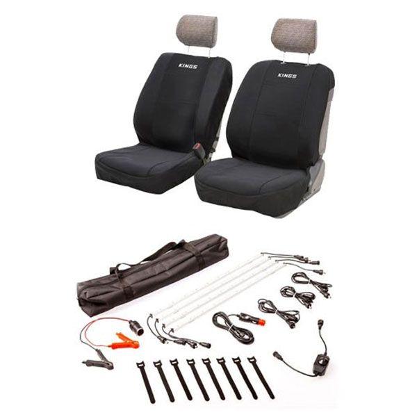 Adventure Kings Neoprene Front Seat Covers + Illuminator 4 Bar Camp Light Kit