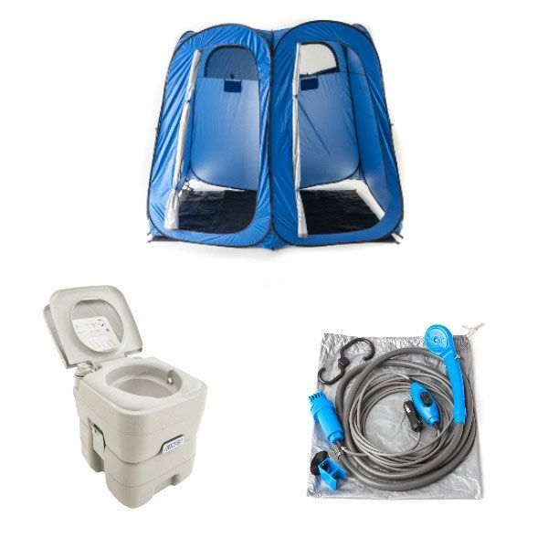 Adventure Kings Portable Camping Toilet + Double Ensuite/Shower Tent + Portable Shower Kit