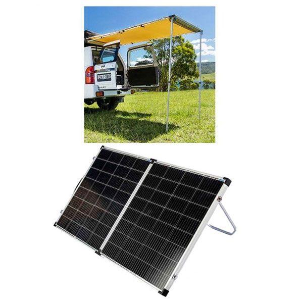 Adventure Kings Rear Awning - 1.4 x 2m + Kings Premium 160w Solar Panel with MPPT Regulator