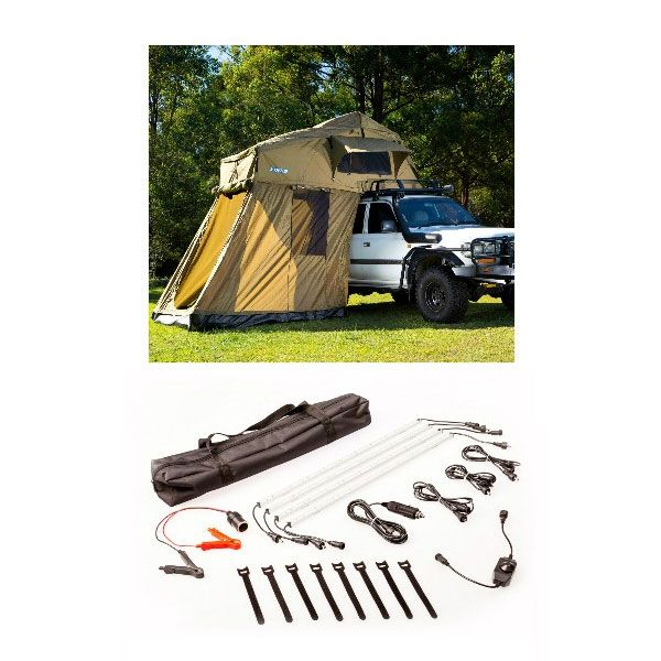 Adventure Kings Roof Top Tent + 4-man Annex + Illuminator 4 Bar Camp Light Kit