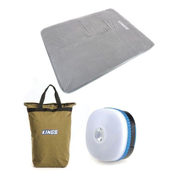 Adventure Kings Self Inflating 100mm Foam Mattress - Queen + Doona/Pillow Canvas Bag + Adventure Kings Mini Lantern