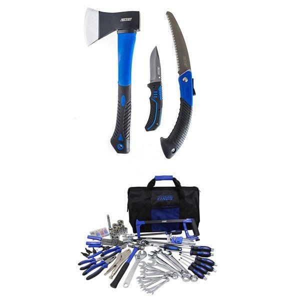 Adventure Kings Tool Kit - Ultimate Bush Mechanic + Kings Three Piece Axe, Folding Saw and Knife