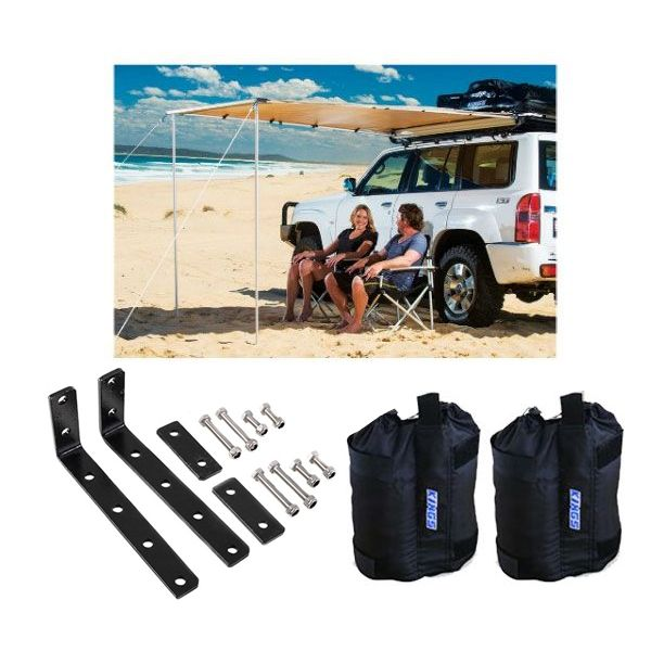 Adventure Kings Awning 2x2.5m + Awning Mounting Brackets (Pair) + Adventure Kings Sand Bags (pair)