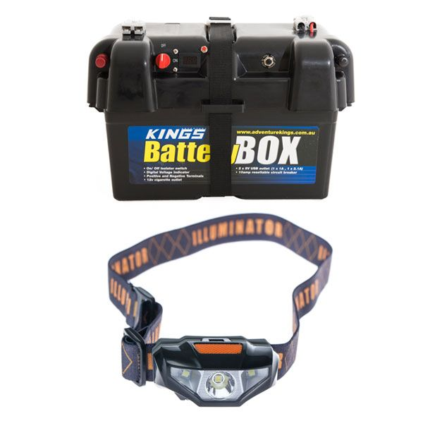Adventure Kings Battery Box + Illuminator LED Head Torch
