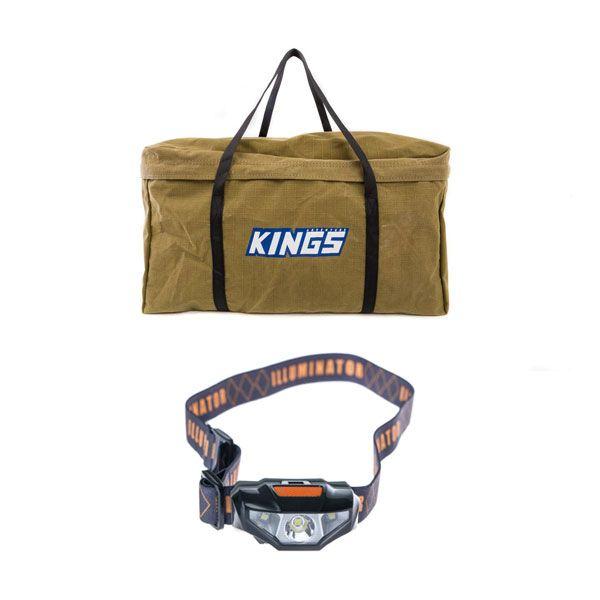 Kings Campfire BBQ Canvas Bag + LED Head Torch