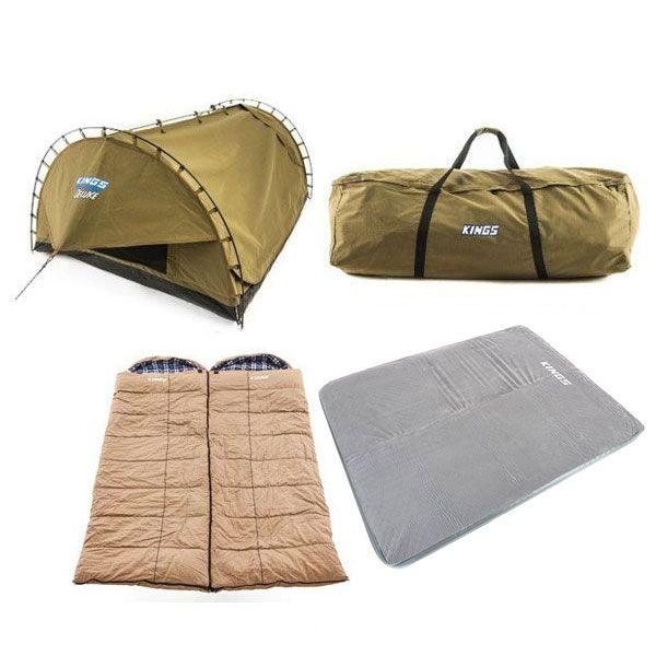Adventure Kings 'Big Daddy' Deluxe Double Swag + 2x Premium Sleeping bag + Swag Canvas Bag + Self Inflating 100mm Foam Mattress - Queen
