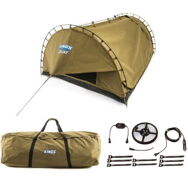 Adventure Kings 'Big Daddy' Deluxe Double Swag + Swag Canvas Bag + 4-Metre 12v LED Camping Strip Light