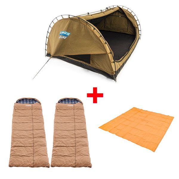 Adventure Kings Double Swag Big Daddy Deluxe + 2x Adventure Kings Premium Sleeping bag -5°C to 5°C Degrees Celsius - Left and Right Zipper + Mesh Flooring 3m x 3m