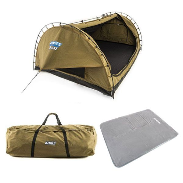 Adventure Kings 'Big Daddy' Deluxe Double Swag + Swag Canvas Bag + Self Inflating 100mm Foam Mattress - Queen