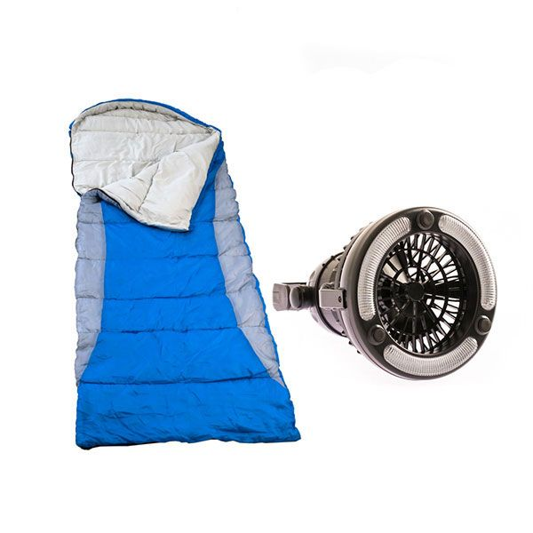 Adventure Kings Right Hooded Sleeping Bag + 2in1 LED Light & Fan