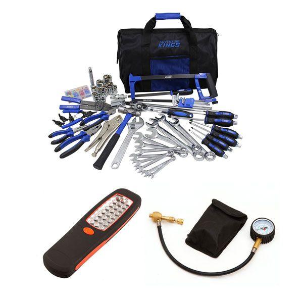 Adventure Kings Tool Kit - Ultimate Bush Mechanic + Illuminator 24 LED Work Light + Tyre Deflator - Kwiky