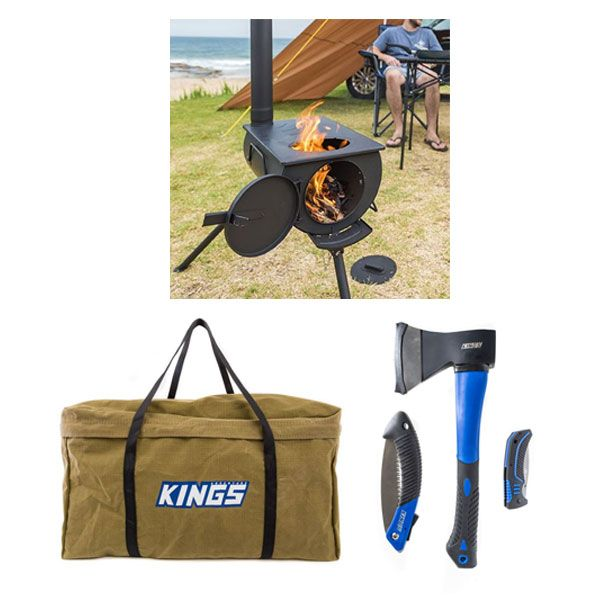 Adventure Kings Camp Oven/Stove + BBQ Canvas Bag + Kings Three Piece Axe, Folding Saw and Knife Kit