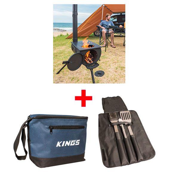 Adventure Kings Camp Oven/Stove + Adventure Kings Cooler Bag + BBQ Tool Set
