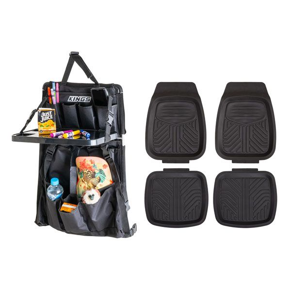 Adventure Kings Premium Car Seat Organiser with Folding Table + 4 Pack Kings Deep Dish Floor Mats