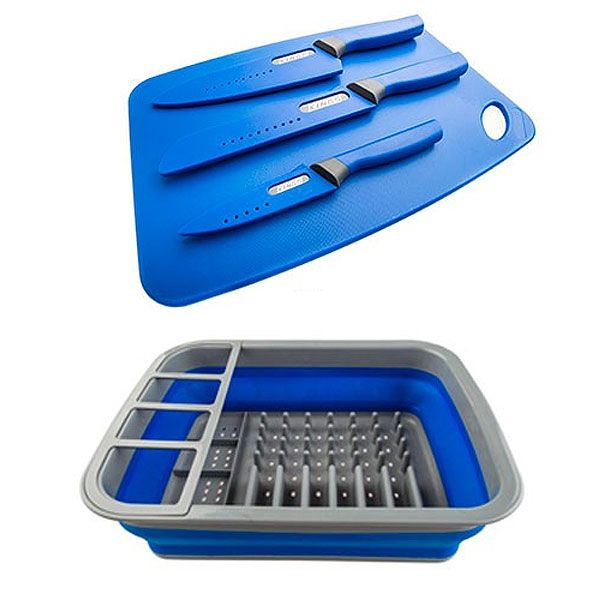 Adventure Kings Collapsible Dish Rack + 4-Piece Camping Chef's Knives Kit