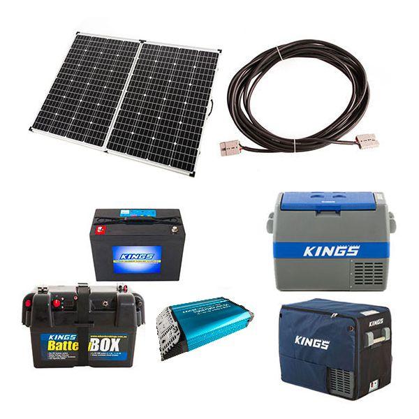 Adventure Kings 250W Solar Complete Camp Power Pack + 60L Camping Fridge/Freezer + 60L Camping Fridge