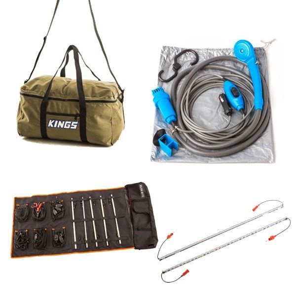 Adventure Kings Complete 5 Bar Camp Light Kit + Orange LED Camp Light Extension Kit + Travel Canvas Bag + Portable Shower Kit
