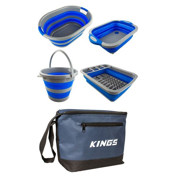 Adventure Kings Collapsible Sink + Collapsible 10L Bucket + Collapsible Laundry Basket + Collapsible Dish Rack + Cooler Bag