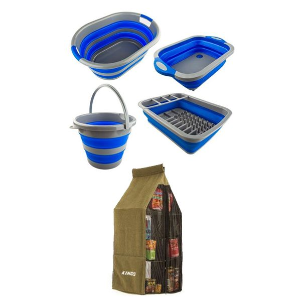 Adventure Kings Collapsible Sink + Collapsible 10L Bucket + Collapsible Laundry Basket + Collapsible Dish Rack + Adventure Kings Hanging Pantry