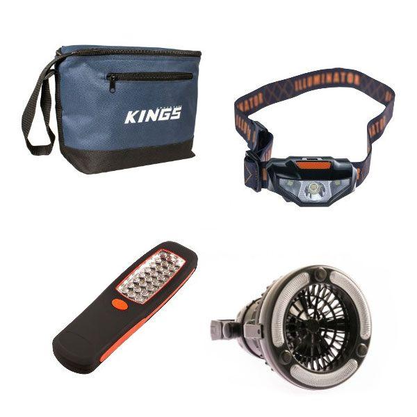 Adventure Kings Cooler Bag + Illuminator 24 LED Work Light + Illuminator LED Head Torch + 2in1 LED Light & Fan