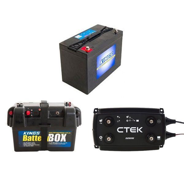 Adventure Kings AGM Deep Cycle Battery 115AH + Battery Box + CTEK D250SE DC/DC 20A Dual Battery System