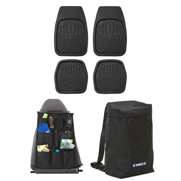 4 Pack Kings Deep Dish Floor Mats + Heavy Duty Dirty Gear Bag + Car Seat Organiser