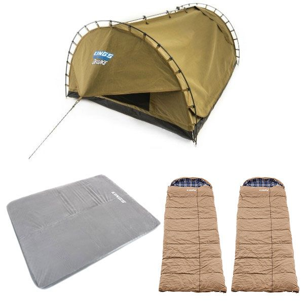 Adventure Kings Double Swag Big Daddy Deluxe + Self Inflating 100mm Foam Mattress - Queen + 2x Adventure Kings Premium Sleeping bag -5°C to 5°C Degrees Celsius - Left and Right Zipper
