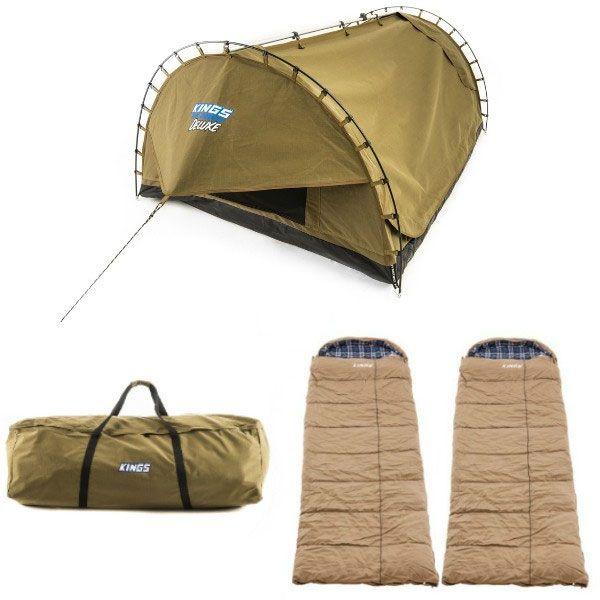Adventure Kings 'Big Daddy' Deluxe Double Swag + 2x Premium Sleeping bag + Swag Canvas Bag