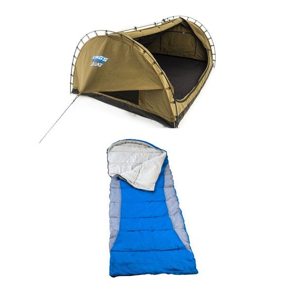 Adventure Kings Double Swag Big Daddy Deluxe + Hooded Sleeping Bag - Right-Hand Zipper
