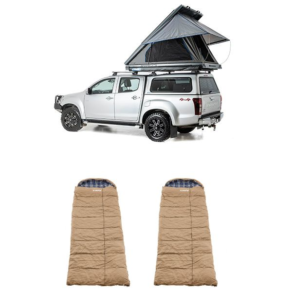 Grand Tourer MKII Aluminium Rooftop Tent + 2x Adventure Kings Premium Winter/Summer Sleeping Bag -5°C to +5°C