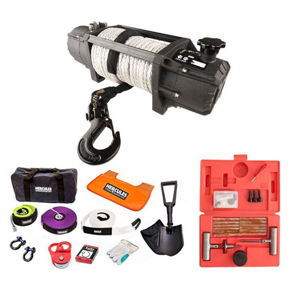 Domin8r Xtreme 12,000lb Winch + Hercules Complete Recovery Kit + Hercules Tyre Repair Kit