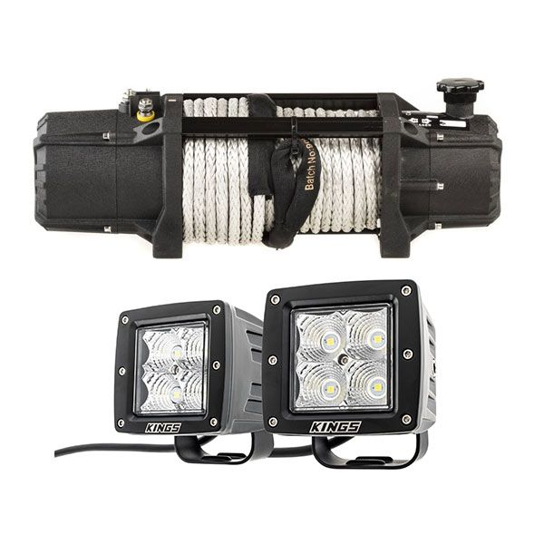 """Domin8r Xtreme 12,000lb Winch + Adventure Kings 3"""" LED Work Light - Pair"""