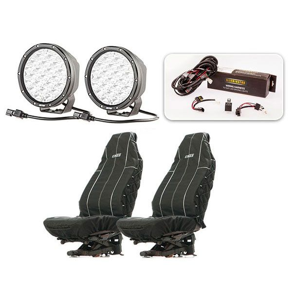 "Essential 7"" Driving Light Pack + Heavy Duty Seat Covers"