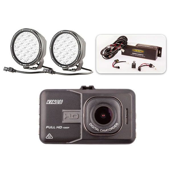 "Essential 7"" Driving Light Pack + Adventure Kings Dash Camera"