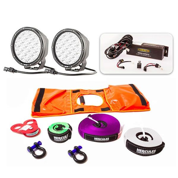 """Essential 7"""" Driving Light Pack + Essential Nylon Recovery Kit"""
