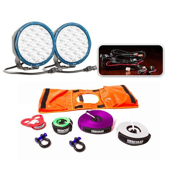 """Essential 7"""" OSRAM LED Domin8rX Driving Light Pack + Essential Nylon Recovery Kit"""