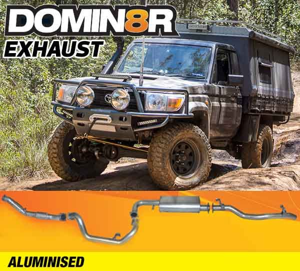 Domin8r Aluminised Exhaust Suitable For Toyota Landcruiser VDJ79R 4.5L V8 2 DR Cab Chassis 2007-2016 (Turbo Back)