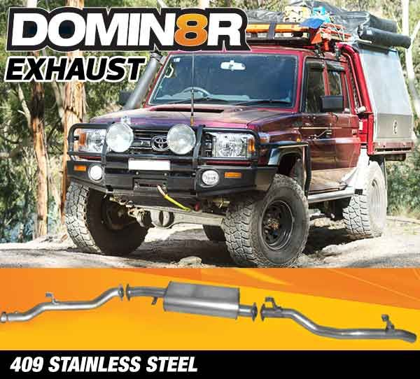 Domin8r Stainless Steel Exhaust Suitable For Toyota Landcruiser 79 4.5L V8 2 & 4 DR Cab Chassis 2017+ (DPF Back)