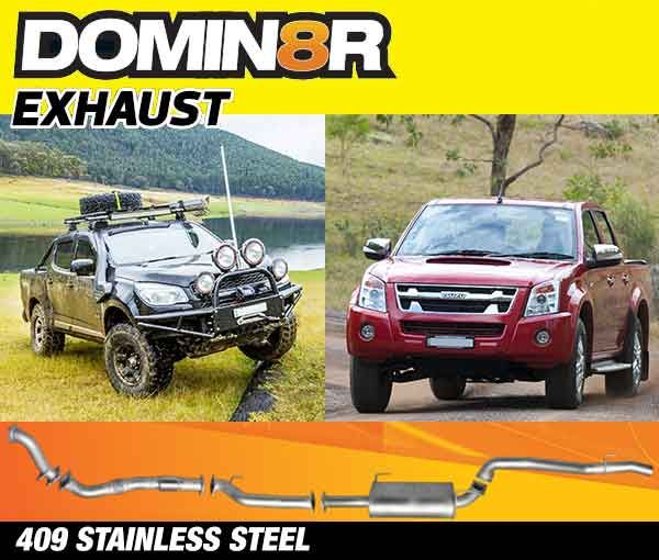 Domin8r Stainless Steel Exhaust Suitable For Holden Colorado RC & Isuzu D-MAX RC 3.0L 4 DR 8/2010-2012 (SWB 3050mm) (Turbo Back)
