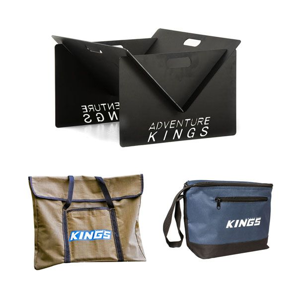 Adventure Kings Portable Steel Fire Pit + Fire Pit Canvas Bag + Kings 8L Cooler Bag
