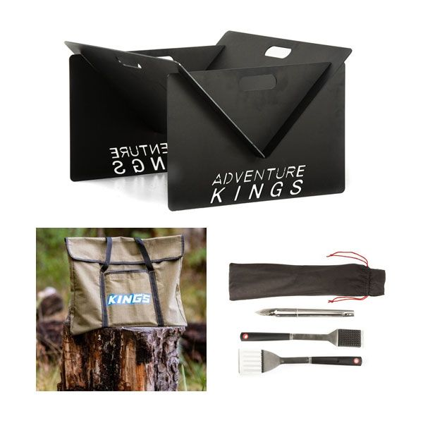 Adventure Kings Portable Steel Fire Pit + Fire Pit Canvas Bag + BBQ Tool Set