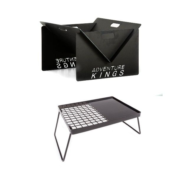 Kings Portable Steel Fire Pit + Adventure Kings Essential BBQ Plate