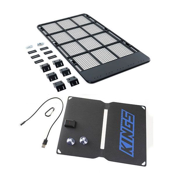 Steel Flat Rack suitable for 100/105 Series + Adventure Kings 10W Portable Solar Kit